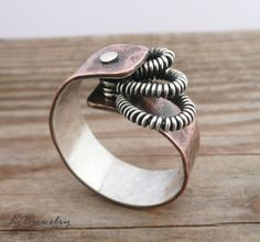 Mixed Metal Ring, Cold Connections, Copper, Sterling Silver, Ring size  US 10.5. $74.00, via Etsy.