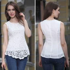 >> Click to Buy << Women Sexy Blouse Female Sleeveless Lace Shirt O-Collar Shirt Tops 2017 New Europe America #Affiliate
