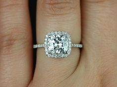 Catalina 14kt White Gold Cushion FB Moissanite and by RosadosBox