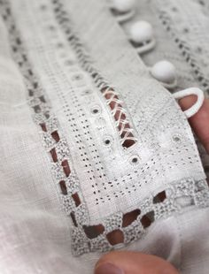 cutwork embroidery - perhaps do on correct cloth for placket & attach to shirt front.  /Kaloou/jolie-broderie/     221 pins