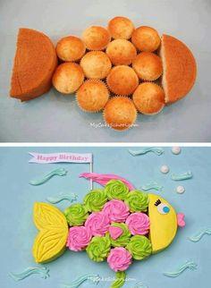 ♥ fish cupcake cake