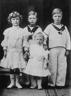HRH Edward Duke of Cornwall at right (later King Edward VIII and Duke of Windsor) with his brothers Albert (center, later King George VI ), Henry, Duke of Gloucester, and sister Mary, the Princess Royal.