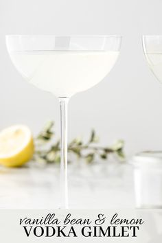 If you love the fragrance of real vanilla beans, this lemon gimlet is your drink. It's a smooth, delicate vodka drink that radiates rich vanilla and lemon. Lemon Vodka, Fresh Lemon Juice, Healthy Spring Recipes, Rhubarb Gin, Cocktails And Canapes, Infused Sugar, Lemon Uses, Homemade Vanilla Extract, Vanilla Beans
