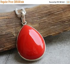 ON SALE Red Coral pendant - Drop pendant - Bezel set pendant - Red pendant jewelry - Gemstone pendant - Gift for her