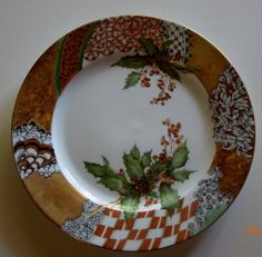 Christmas plate with decorative borders and a snowman- Hand Painted porcelain…