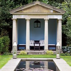 ... and on warm summer nights  Palladian elements  waterlily bathing pond