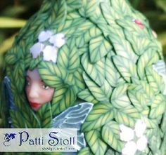 """Closeup of """"Seven Sisters"""" fairy, polymer clay bottle"""