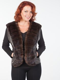 Leather Vest with Fur Scalloped Trim