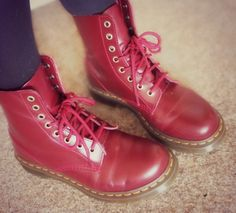Dr Martin's Cherry Red Boots on www.helloterrilowe.com  #fashion #fbloggers #drmartins #shoes #boots Winter Clothes, Winter Outfits, Dr Martins, Red Boots, Cherry Red, Shoes, Style, Fashion, Cold Winter Outfits