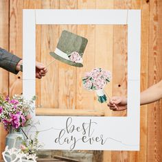 Rustic Country 'Best Day Ever' Giant Photo Prop Sign, wedding photo booth props, wedding photo booth frame, personalised wedding photo frame Picture Booth, Photo Booth Background, Photo Frame Prop, Foto Frame, Picture Frames, Wedding Photo Booth Props, Diy Photo Booth, Photo Booth Backdrop, Photo Booths