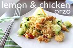 Lemon and Chicken Orzo   3/4 cup uncooked orzo 1/4 teaspoon grated lemon zest 3 tablespoons fresh lemon juice 1 tablespoon extra-virgin olive oil 1/2 teaspoon kosher salt 1/2 teaspoon minced garlic 1/4 teaspoon honey 1/8 teaspoon freshly ground black pepper 1 cup cooked and cubed chicken breast 1/2 cup diced English cucumber 1/4 cup sun dried tomatoes 1/4 cup halved green olives (they had them at Trader Joes in cans—I was intrigued) 1 tablespoon chopped fresh dill