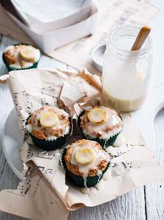 Banana Frosted Vanilla Bean Muffins #delightfuldesserts