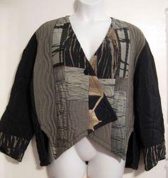 KANE SELLS STUDIO hand-dyed silk Shibori quilted jacket Wearable Art OS XL boxy