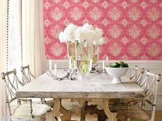 dining room, pink, white, rustic