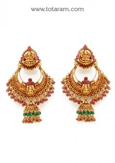 Chandbali Earrings - Temple Jewellery - 22K Gold 'Lakshmi' Drop Earrings: Totaram Jewelers: Buy Indian Gold jewelry & 18K Diamond jewelry