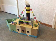 Stoomboot van Sinterklaas van een schoenendoos. Gift Wrapping, Play, School, Tips, Miniature Fairy Gardens, Miniatures, Gift Wrapping Paper, Wrapping Gifts, Gift Packaging