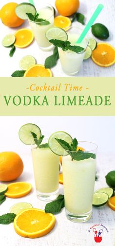 Vodka Limeade is a refreshing cocktail that's perfect for summer. Start with limeade concentrate, a splash of OJ, vodka & mint. It's like summer in a glass! via @2CookinMamas