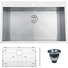 @Overstock.com - Ruvati 16-gauge Stainless Steel 33-inch Single Bowl Overmount Kitchen Sink - Update your kitchen by installing this overmount kitchen sink. Featuring a stainless-steel design with a satin finish that enhances its beauty, this sink has a bowl depth of 10 inches, making it large enough for you to clean or soak a variety of items.  http://www.overstock.com/Home-Garden/Ruvati-16-gauge-Stainless-Steel-33-inch-Single-Bowl-Overmount-Kitchen-Sink/7029917/product.html?CID=214117…
