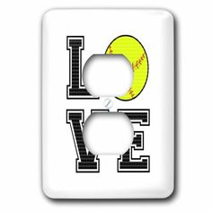 Janna Salak Designs Sports - Print of Love Softball - Light Switch Covers - 2 plug outlet cover Girls Softball Room, Softball Room Decor, Softball Shoes, Softball Party, Softball Crafts, Softball Pitching, Fastpitch Softball, Softball Mom, Softball Bedroom Ideas
