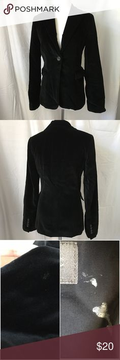 Banana Republic Black Velvet Blazer Sz 0 Banana republic versatile black velvet blazer. Size 0. Perfect for work or evening. Overall in good condition with a mark towards the hem of the jacket, hard to see in person but the picture with flash shows more contrast, there's also a mark by the label inside the jacket. Please see all pictures and ask all questions.  See my other fabulous listings. Smoke/pet free home. Banana Republic Jackets & Coats Blazers