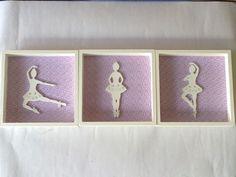 Trio de quadros em MDF pintados, com tecido e bailarinas de MDF.  Cores a escolher !  Valor referente a unidade ! R$ 18,00
