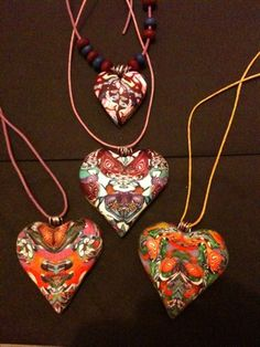 Beautiful one of a kind heart shaped pendants, created from leftover scraps! For this tutorial it is recommended that you use Cernit Polymer Clay Basic tools needed Polymer clay blade,jewelerywir…
