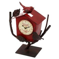 #Red Metal table clock birds house #cukoo alike www.inart.com
