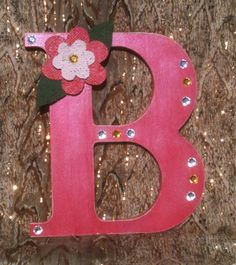 Wood Letter B, French Rose Pink with Burlap Flower and Sequins by projectsbyGnG on Etsy
