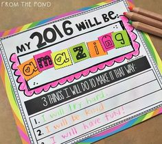 New Years 2016Ask you students to think of one word that will define their 2016!They can cut and paste from the letters provided to make their word. Run off additional copies of the spare letters page in bright colored paper to provide ample supply. Students can finish their page by writing 3 goals to work towards their word for the year.Display by gluing on brightly colored art paper or scrapbooking paper!Please follow me here at TpT to receive emails about my new products and freebies!I…