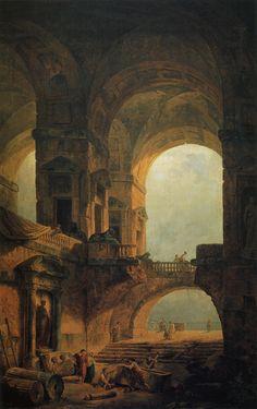 """sakrogoat: """" Rober Hubert - Landscape with a Sarcophagus """""""