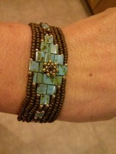 Sweet Honey Tila bead Mosaic Wrap Bracelet free tutorial