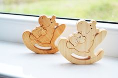 Wooden toys - Animal puzzle - Wooden Puzzle Hippo - Educational toys - Puzzle Toy - Wooden Swing - Kids gifts - Hippos Family