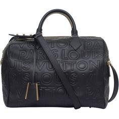 Louis Vuitton Black Speedy Paris Cube Bag ❤ liked on Polyvore featuring bags, handbags, monogrammed handbags, louis vuitton purses, louis vuitton, louis vuitton bags and louis vuitton handbags