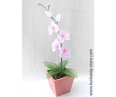 Vaso de Flor Orquídea Artificial em Meia de Seda (tons de rosa)