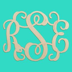 """18"""" three initial wood monogram for $26.95 - 1/2"""" natural birch wood. $5 to ship anywhere in the US!"""