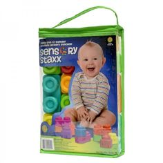 Baby Building Blocks Set 18 Piece Soft Vinyl Colorful Shapes Vibrant Colors #Hedstrom
