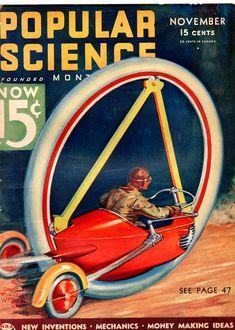 Popular Science trike bike pulp retro futurism back to the future tomorrow tomorrowland space planet age sci-fi airship steampunk dieselpunk