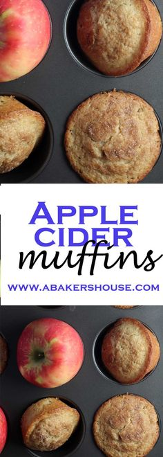 Apple Cider Muffins are loaded with apples and flavored with apple cider to bring out the best in your fall baking. The warm smell of cinnamon fills the kitchen as these muffins bake. Made by Holly Baker at www.abakershouse.com