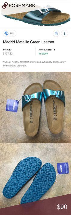 90e10b04c01 NWT Birkenstock Madrid sandals Only tried on inside. Fun teal metallic  color Birkenstock Shoes Sandals
