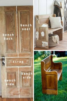 Una gran idea para reciclar son estos bancos creados con viejas puertas de madera.