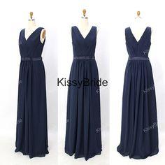 V-neck bridesmaid dresses,long evening dress, prom dress, chiffon elegant evening dress,navy blue evening dresses, simple cheap party dress