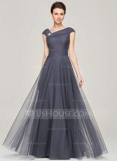 Corte A/Princesa Hasta el suelo Tul Vestido de madrina con Volantes Bordado Lentejuelas (008062861) - JJsHouse