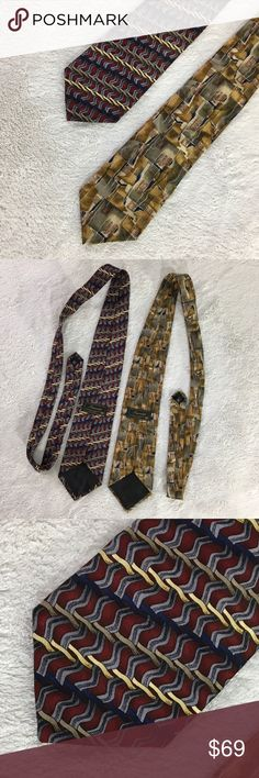 Two ties! Innocenti for Tom James Two classy and bold ties, great for office or events or the business guy in your life. Both approximately the same length.  All silk. Made in the USA. Innocenti Tailored Exclusively for Tom James Accessories Ties