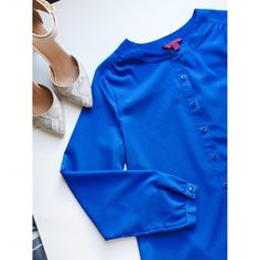 Blue Collarless Top Blue button down 212 collection Tops Button Down Shirts