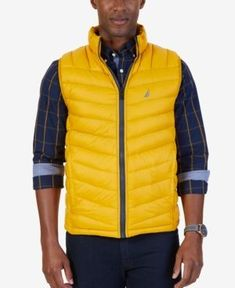Nautica Men's Reversible Quilted Vest - Yellow XXL #vestsmen