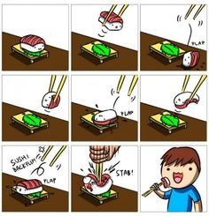 Funny pictures about Eating sushi with chopsticks. Oh, and cool pics about Eating sushi with chopsticks. Also, Eating sushi with chopsticks. Eat Sushi, Sushi Time, Sushi Food, I Love To Laugh, Food Humor, Funny Food, Food Jokes, Dry Humor, Chopsticks