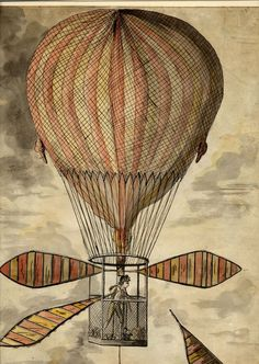 """Grand Air Balloon""; Vincent Lunardi  1784 Pen and black ink with watercolour. British Museum."