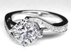 Cushion Diamond Swirl Engagement Ring - ES1155