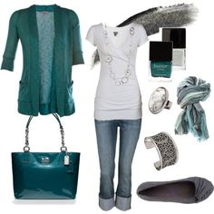 long white tee shirt (small), long teal cardigan (small) gray flats (size 6-6.5)