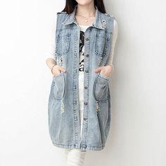 Click to Buy    Summer 2017 Long Denim Vest Women Vintage Frayed Waistcoat.     7d8378096493